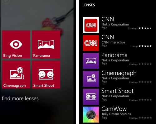 "Simply tap ""Find More Lenses"" after entering Lenses to explore Microsoft and third-party lenses in the Windows Phone Store."