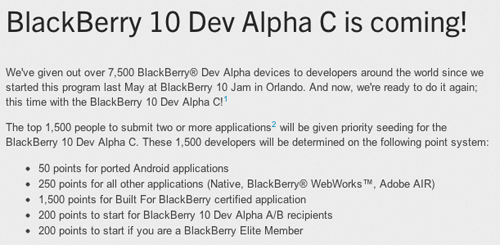 The Dev Alpha C offer will run from 1st of December this year through 5th of February next year. (Source: BlackBerry Developer)