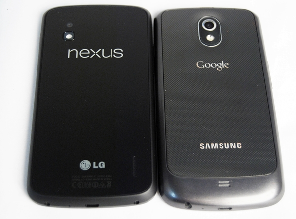 Bid farewell to the hyper-skin backing of the battery cover of the Samsung Galaxy Nexus (right). It is replaced with a solid and smooth glass back panel on the LG Nexus 4 (left).