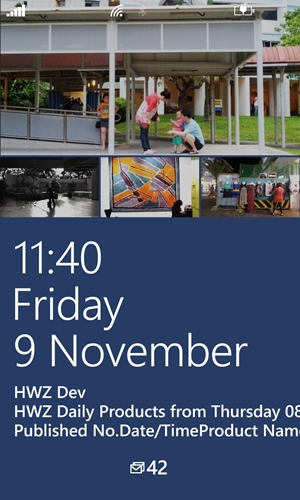 While WP8 doesn't deviate much from WP7, there are a couple of incremental changes that are welcoming. Take for example, the new WP8 lockscreen now offers the flexibility of displaying images or information from selected apps and services. In this case, the Facebook app draws images from your Facebook albums.