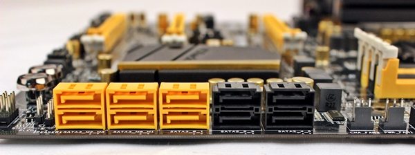 The yellow connectors are SATA 6Gbps-compliant while the black ones support SATA 3Gbps. There is no color differentiation among the yellow SATA 6Gbps connectors to determine their controllers; the pair on the extreme left are supported by the chipset, while the remaining four are courtesy of the Marvell controllers.
