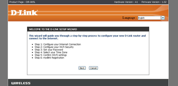"Users logging in to the router for the first time should encounter D-Link's Setup Wizard. To configure it manually, click ""Cancel"" to bypass the step-by-step process."