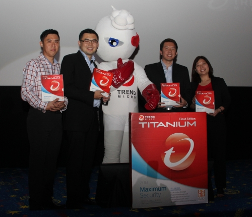 The Trend Micro management team posing with their mascot as well as the new and feature-filled security solution