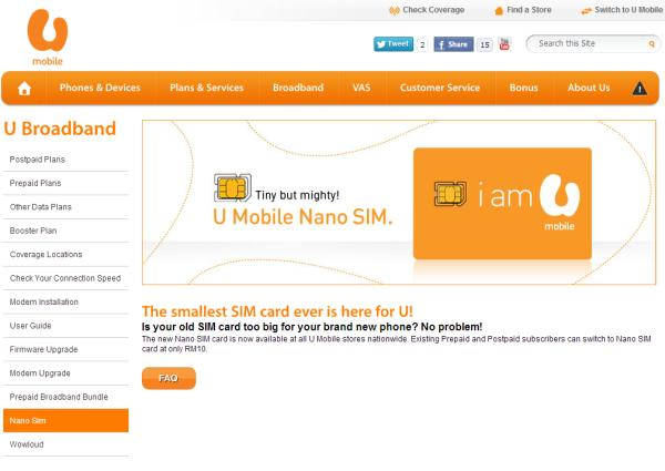 The new Nano SIM card, now available at your nearest U Mobile vendor