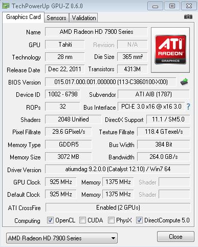 A GPU-Z snapshot at default speeds.