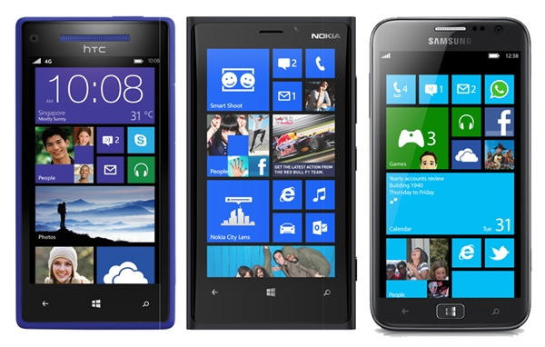 From left to right: Windows Phone 8X by HTC, Nokia Lumia 920 and Samsung Ativ S.