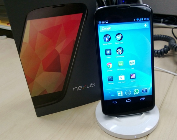 As the LG Nexus 4 supports the Qi wireless charging standard, it can be used with Nokia's wireless charging plate albeit with some luck.