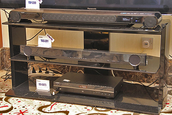 Here's a closer look at the two new sound bars. The BD-S673 Wi-Fi-capable Blu-ray player (bottom most) is also on show, and it has an estimated retail price of S$439.