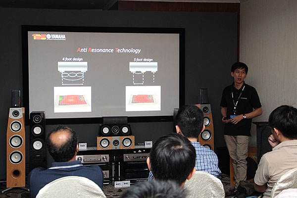 Here's Mr. Alex Low from Yamaha walking through the features of the new Aventage series of AVRs with the audience.