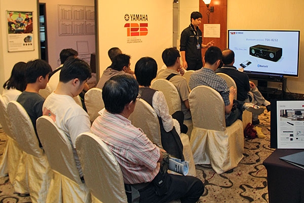A full house listening attentively to Yamaha's presentations on their latest desktop audio products.