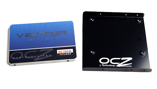 The OCZ Vector comes with an installation bracket that holds the drive in place when slotted into typical 3.5-inch hard drive bays.