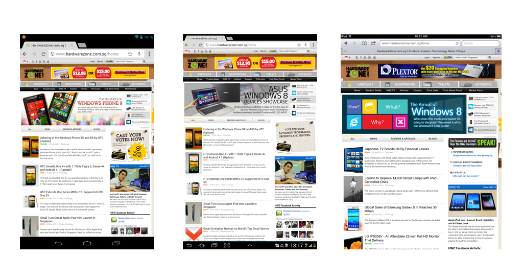 When we compare the screenshots taken from the Google Nexus 7(left), Samsung Galaxy Tab 7.7 (center) and Apple iPad Mini (right), the Apple slate displays lesser content although details are larger.