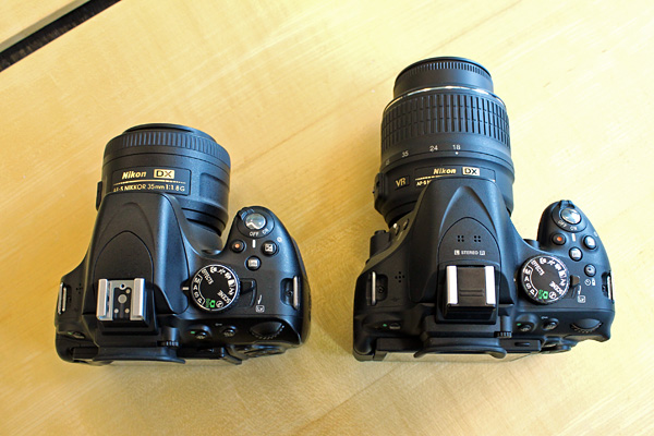 The D5200's layout is virtually identical to the D5100, except for the additional Drive mode button beside the LV lever.
