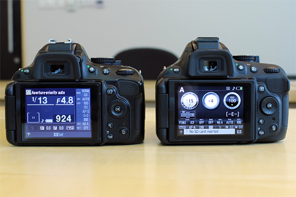 The D5200's (right) Info screen has been completely redesigned from the D5100's (left).