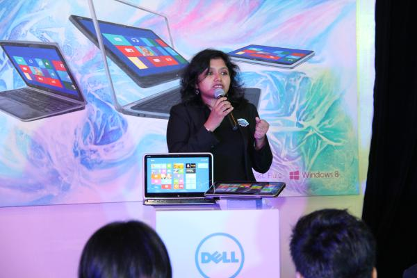 Amrita Sapre, Windows Product Group Manager for Microsoft Malaysia, seen here demonstrating the simplicity of Windows 8 on the XPS 12