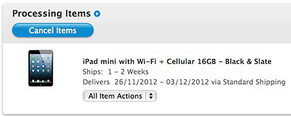 Those who pre-ordered the iPad Mini can expect to receive it as early as November 26.