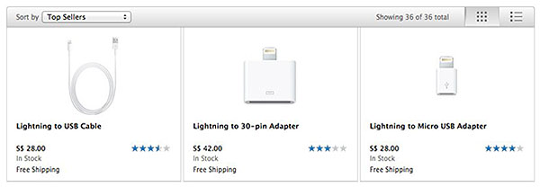 Apple's online store now has Lightning cables and adapters in stock. (Screenshot from: Apple Store Singapore.)