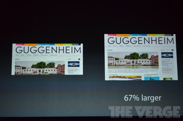 In landscape mode, the Apple iPad Mini obviously shows more details due to its 1024 x 768 pixels display resolution, which has 48 more pixels (width) compared to competing Android tablets.<br>Image source: The Verge