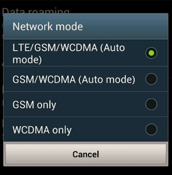 Network modes on a 4G device.