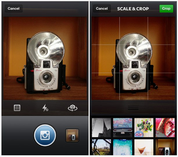 The Instagram camera now sports an Instagram-themed shutter and shutter release button, and an improved Camera Roll image selector (iPhone 5 only). (Image source: Instagram.)