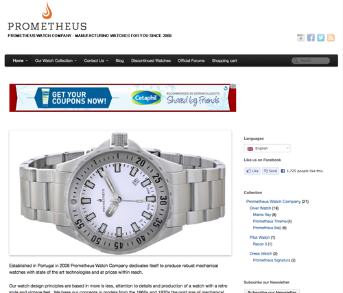 A screenshot of Prometheus' (the watch company) website. See any references to Prometheus the movie? I don't think the watch looks inspired by the movie either.