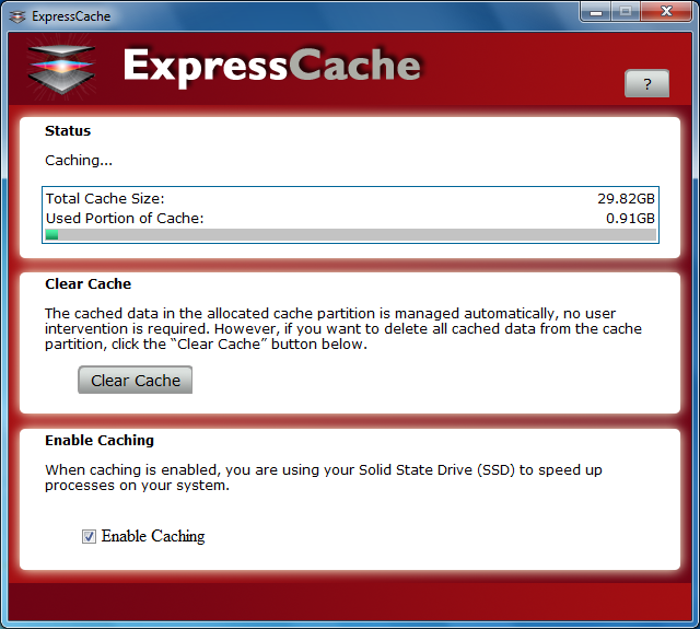 The ExpressCache software is simple in design and in its functions. It tells you how much memory is left and let's you clear the cache if you wish to do so.