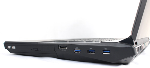 Three USB 3.0 ports, an e-SATA/USB 3.0 combo port, and a DVD rewritable optical drive are found on the right-side.