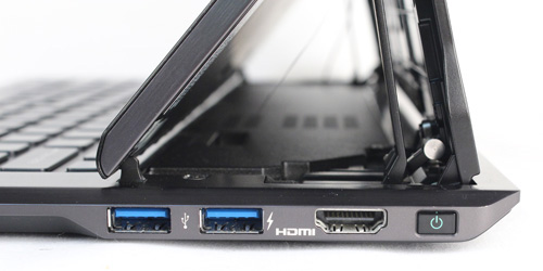 While on the right, you've got two USB 3.0 ports and an HDMI port. You'll also find the power button here.