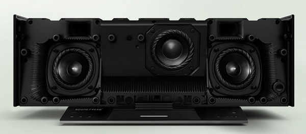 Inside the Soundfreaq SFQ-03 Sound Stack dock, you can clearly see the 2.2-speaker configuration: dual main speakers on the sides with the subwoofers in the middle (because they are designed with a push-pull config,  the secondary sub is situated behind the front facing one). Image source: Soundfreaq.