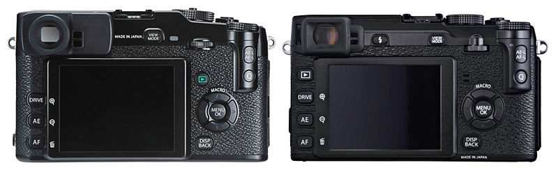 Not much has changed between the X-Pro1 (left) and the X-E1 (right) (image not to scale).