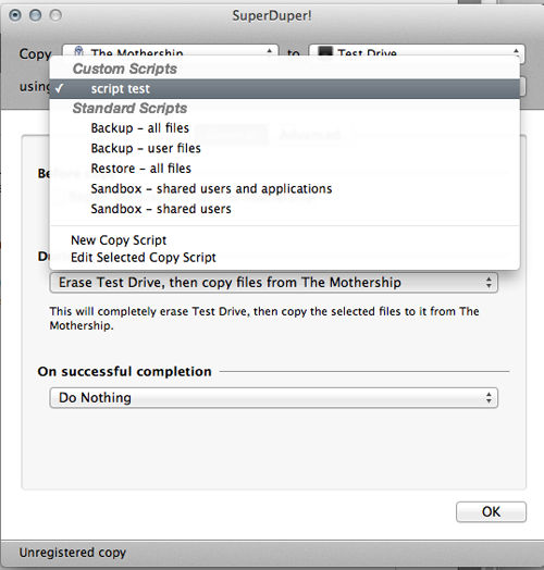 You should now see the new Copy Script that you have created in the drop-down list.