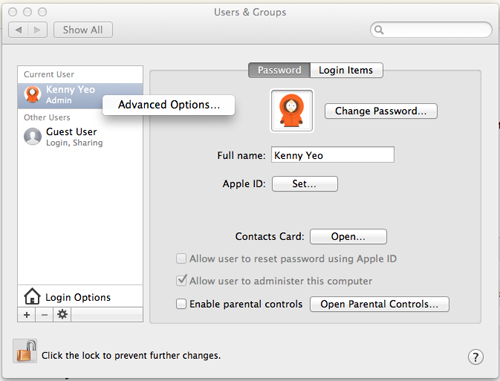 "Right-click on your account and access ""Advanced Options..."" to reconfigure your Home folders."