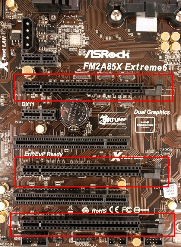 Besides the trio of PCIe 2.0 x16 slots that are highlighted in red outlines, there are two PCIe 2.0 x1 expansion slots as well as a pair of legacy PCI slots.