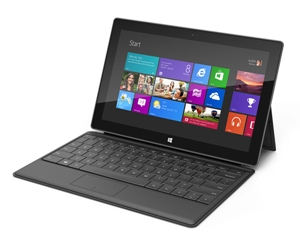 Microsoft Surface with Windows RT and its optional Type Cover add-on keyboard shown in this photo.