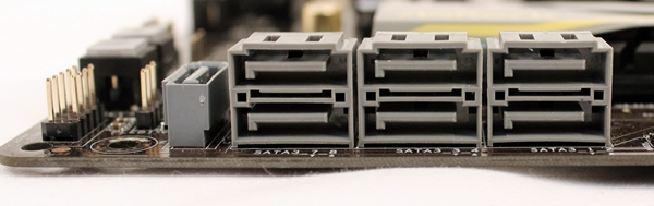 Shown here are the seven SATA 6Gbps connectors, courtesy of the AMD A85X chipset. The chipset supports eight SATA 6Gbps connectors and the eighth one is featured at the rear I/O panel as an eSATA port.