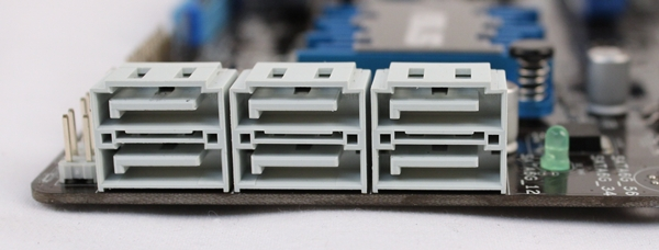 The six SATA 6Gbps connectors that are bunched together.