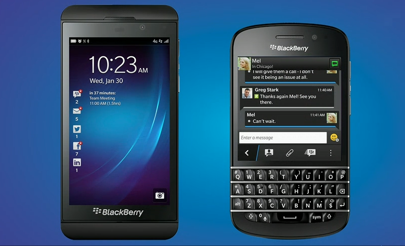 BlackBerry Z10 and its Q10 QWERTY-equipped counterpart.