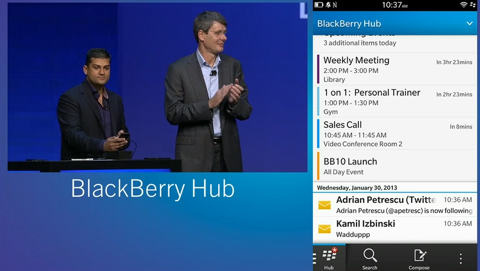 The Hub - the hive of activity on BB10. BlackBerry Hub is essentially what the People Hub is to the Windows Phone 8 platform. In here, you get all your connections in one place, be it your emails, contacts, Facebook, LinkedIn or Twitter.