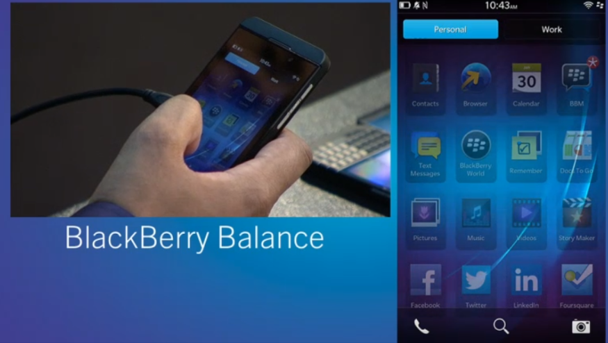 In a bid to extend its diminishing stronghold on entreprise services, BlackBerry 10 comes with BlackBerry Balance, a feature that allows you to switch from personal to work profile with a single swipe.