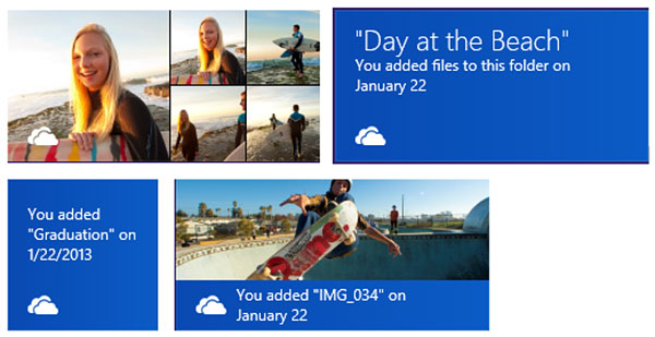Examples of how a SkyDrive live tile looks like. (Image source: Microsoft.)