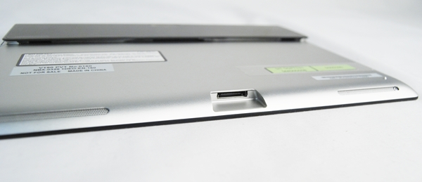 The Sony Xperia Tablet S unfortunately doesn't use a more universal microUSB port and instead requires users to rely on a proprietary port for charging and data transfer on-the-go. Note the two speakers that flank the proprietary port.