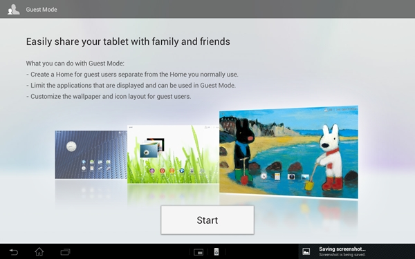 Guest Mode enables you to create multiple user accounts on the Sony Xperia Tablet S.