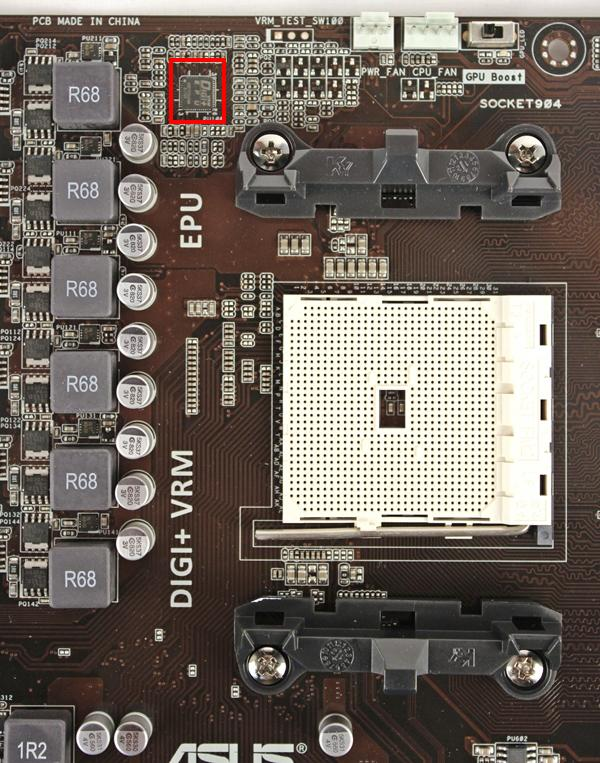 Next to the FM2 socket, we can see the exposed MOSFETs that are usually covered by cooling heatsinks. The ferrite chokes and capacitors are also laid bare in this instance. Outlined in red is the ASUS Digi+ Energy Processing Unit (EPU).