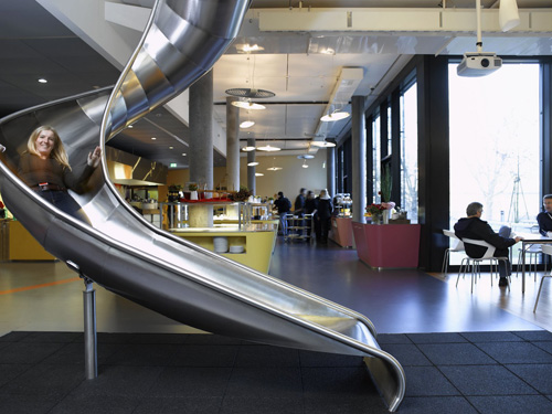 Having an indoor slide probably helps with employee satisfaction too.