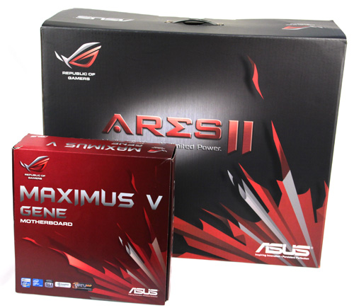 The packaging for the ROG ARES II is huge! Here it is next to an ASUS ROG MAXIMUS V GENE Micro ATX motherboard