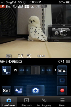 The main shooting menu of the Panasonic Lumix Link app.
