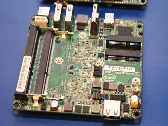 The Next Unit of Computing (NUC) that is a self-contained motherboard and it comes built with a dual-core 3rd generation Intel Core 1.8GHz i3-3217U processor along with the Intel QS77 Express chipset.