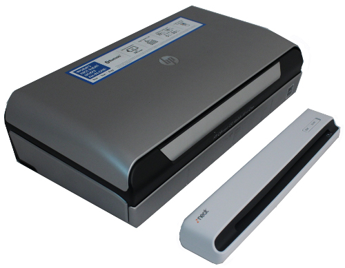 Here's the HP Officejet beside the Neatscan to Office, a portable scanner. While the Officejet 150 looks much larger, do remember that the Officejet 150 is a full-fledged AIO, albeit a 'portable' one.