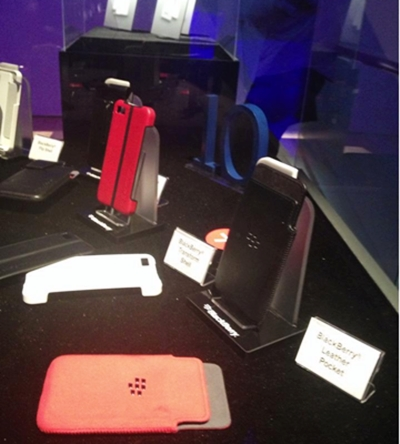 Some accessories were shown at the event, including BlackBerry Z10 leather pocket and flipshell casings.