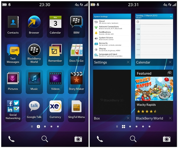 Left: Main home screen of BlackBerry 10 OS <br>Right: Multitasking on BlackBerry 10 OS